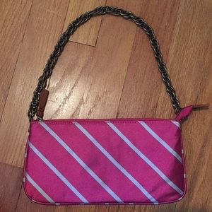 "J. Crew pink ""tie"" bag with bronze chain"